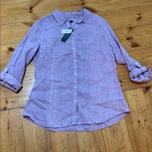 NWT Talbots | Women's Lilac Linen Collared Shirt
